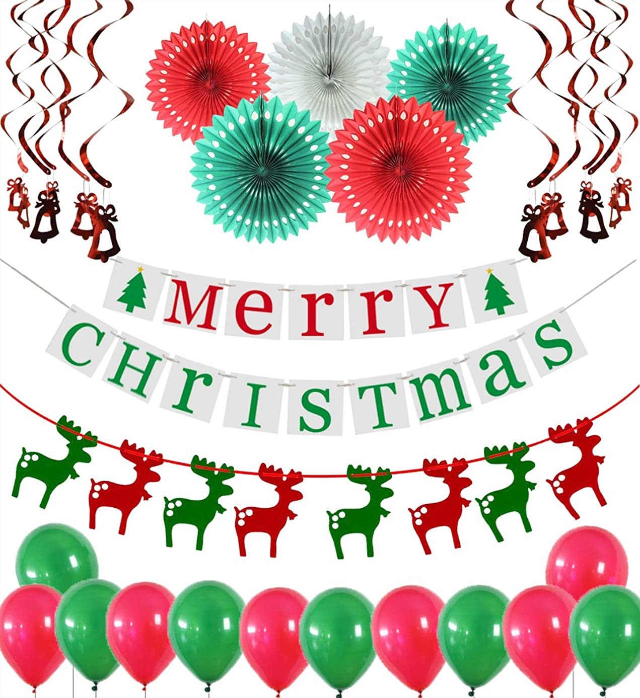 Merry Christmas Decorations Banner Reindeer Bunting Hanging Snowflake Fans Bells Ornament Swirls Latex Balloons Holiday Party Supplies Home Wall