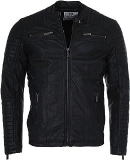 Redbridge Men's Transition Jacket Faux Leather Biker Vintage M6013 Black