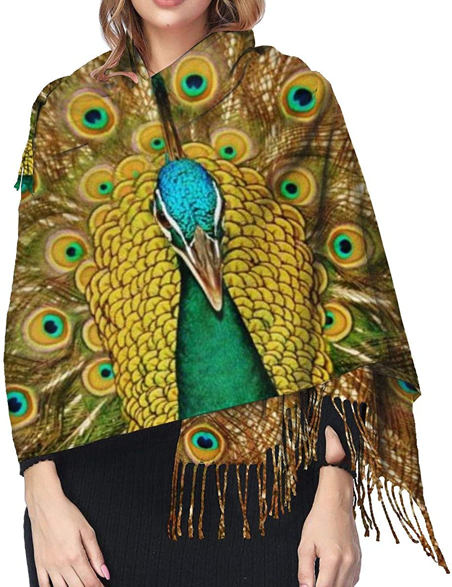 Peacock Feather Women'S Long Shawl Scarves Winter Warm Big Cashmere Scarf