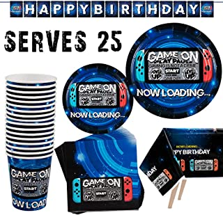 PartyFun 102PCS Video Game Party Supplies Birthday Party Supplies for Gamer Includes Video Game Paper Plates, Paper Cups, Napkins, Table Cover and Decoration Banner, Serves 25 Guests