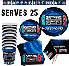 Video Game Party Supplies-102pcs Birthday Decoration For Gamers Includes Paper Plates, Paper Cups, Napkins, Table Cover and Dcoration Banner(Serves 25 )