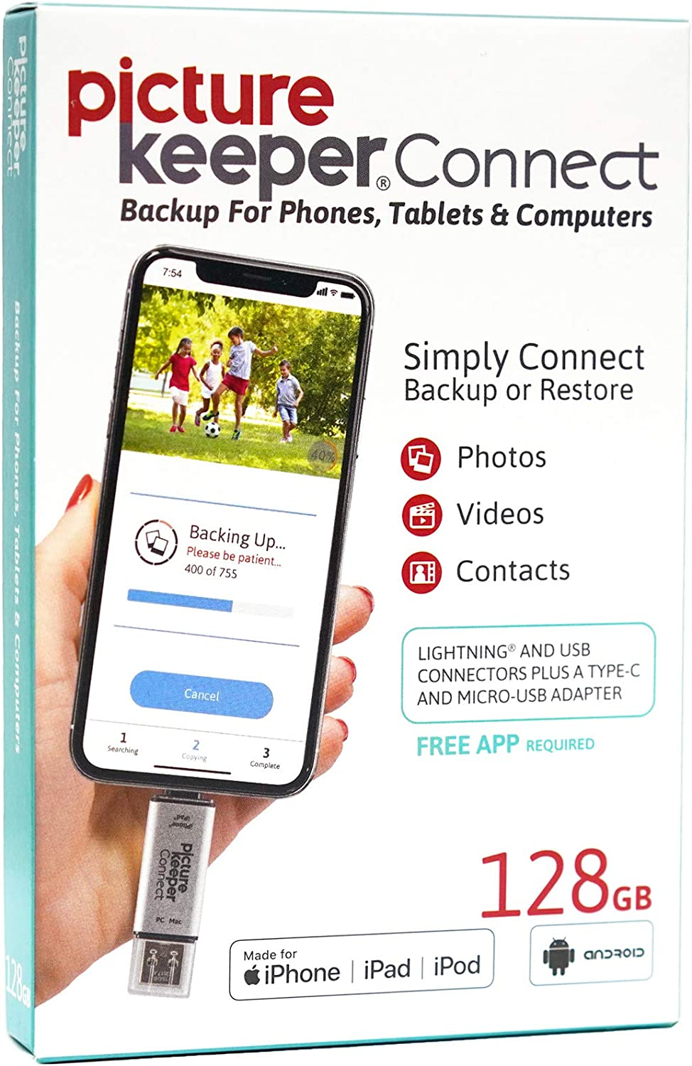 iPhone Smart USB Flash Drive 128GB [Apple MFI Certified] Picture Keeper Connect - Lightning Memory Expansion Backup for Apple iOS