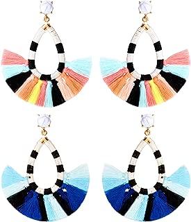 2 Pairs Beaded Tassel Earrings Bohemian Statement Drop Earrings Dangle Fringe Earrings for Women