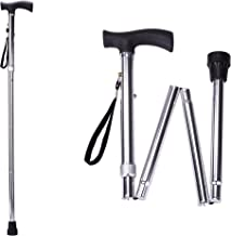 Folding Cane, Adjustable Height Foldable Walking Cane for Men and Women, Aluminum Portable Hand Walking Stick with Comfortable Handles for Elderly (Silver)