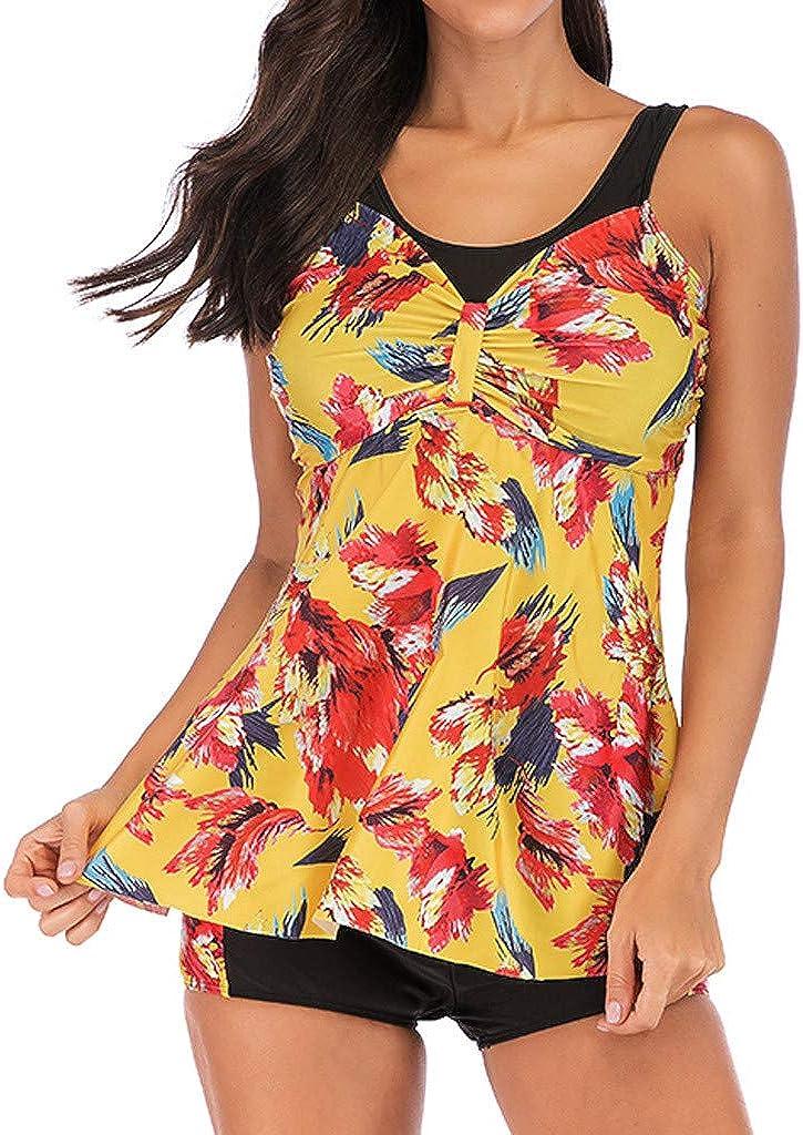 HHmei Women's Swimdress Plus Size Floral Print Swimwear Slimming Skirt Swimsuits Bathing Suit Dress