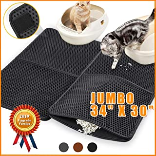 Cat Litter Catcher Mat Litter Trapping Jumbo 34 x 30, Honeycomb Double Layer Cat Litter Mat for Litter Box, Extra Large Waterproof Cat Litter Box Mat Trapper with PU Leather Edge, Can be Spliced
