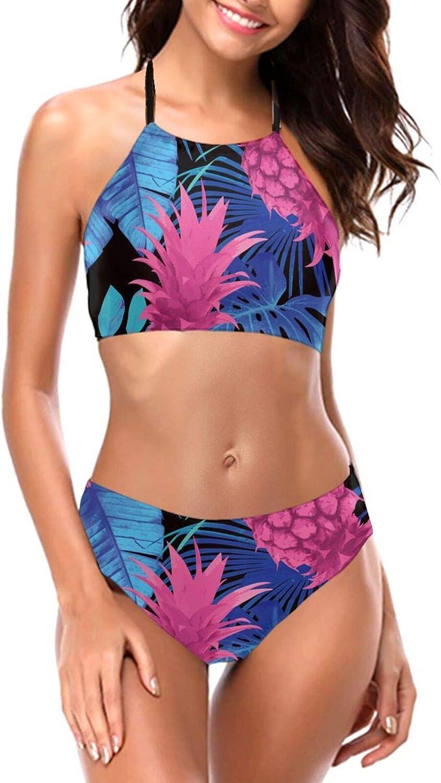 Pineapple Tropical Ranking TOP18 Leaves Women's High Halter Set Sw Bikini Neck Soldering