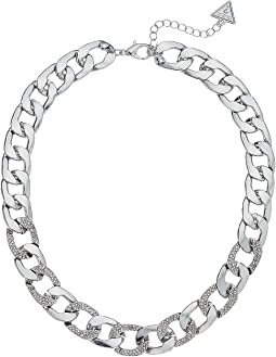 """Chain Link Necklace with Pave Accents 16"""" with 2"""" Extender"""