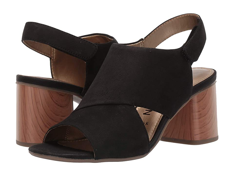 Anne Klein Damarie Heeled Sandal (Black Nubuck) Women