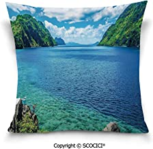 SCOCICI Double-Sided Digital Printing Couch Pillowcase Scenic View Sea Bay and Mountain Islands in Palawan Philippines Idyllic Image Pillow Cover Hidden Zipper Customized