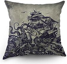 Kraken Pillow Cover Vintage Sail Boat Ocean Waves Octopus Throw Pillow Case 18 x 18 Inch Home Textile European Style Cotto...