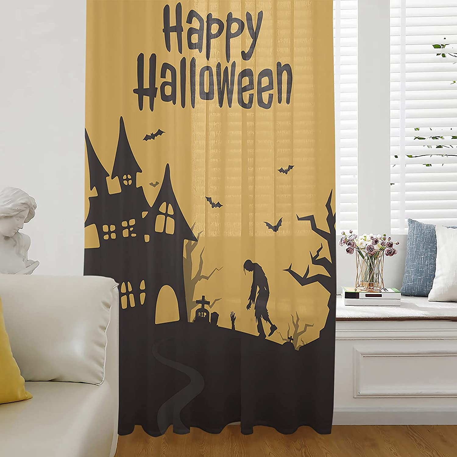 Sheer Window Curtains Breathable High quality Curtain Panel Happy Halloween A Same day shipping