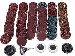 LYYCEU 60 stks 50mm Mix Schuurschijf Set 2 Inch Roll Slot Aerofoil Common Sandpaper Pad met Houder Gereedschap