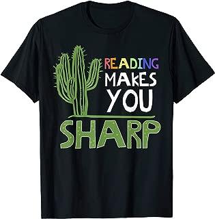 Cute Reading Design Sharp Cactus Teacher Gift Idea T-Shirt