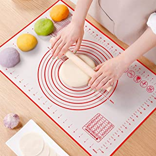 """Non Slip Silicone Pastry Mat, Large Non-stick Baking Mat for Rolling Dough, Baking, Fondant, Pie Crust, Pizza, Bread, Cookie- Easy Clean Kneading Mats with Measurements(16"""" x 24"""")"""