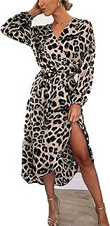 NDJqer Leopard Dress Women Chiffon Long Beach Dress Loose Long Sleeve Deep V-Neck A-Line Sexy Party Dress