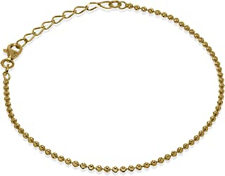 Romantico Casanova New Yorker Bead Chain Bracciale (Placcato Oro) 2 mm Donna in Argento 925 - Made in Italy - BEAD CHAIN c...