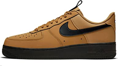 Nike Men's Air Force 1 '07 Low Casual Shoes (12, Wheat/Midnight Navy/Black)