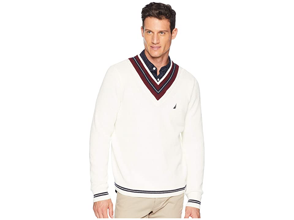 Nautica 9GG Cable Tipped V-Neck Sweater (Marshmallow) Men