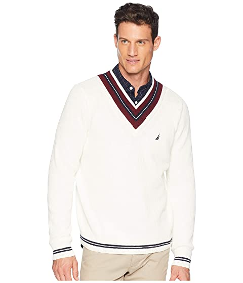 Men's Vintage Sweaters – 1920s to 1960s Retro Jumpers Nautica 9GG Cable Tipped V-Neck Sweater Marshmallow Mens Sweater $118.00 AT vintagedancer.com