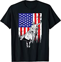 American Flag Bucking Bull Riding Patriotic Rodeo Rider T-Shirt