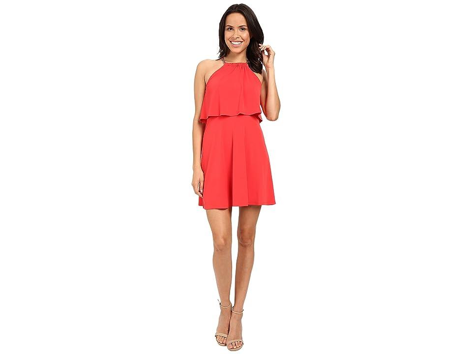 Jessica Simpson Solid Pop Over Dress JS6D8646 (Poppy Red) Women