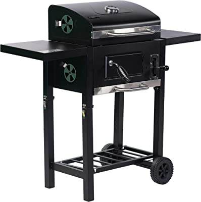 ALEKO Foldable Wagon Charcoal BBQ Grill with Side Tables and Wheels - Black