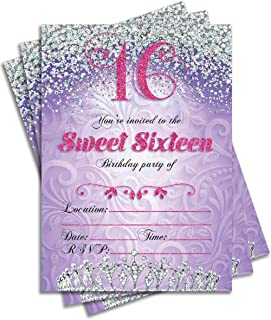 Sweet 16 Sixteen Birthday Party Double Sided Purple Invitations, Set of 25 5x7 Girl's 16th Birthday Invitations includes Envelopes