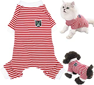 Dogs Pajamas Striped Shirt Pet Jumpsuit Bodysuit Soft Cotton Clothes Cats Lovely Clothing Puppy Red Jumpsuits Outfit Pants...