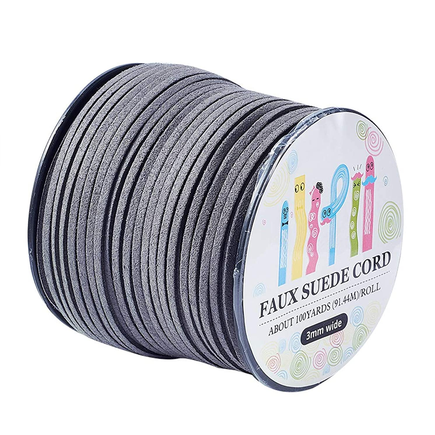 Pandahall 98Yard 90m/roll 3x1.4mm Faux Suede Cord String Leather Lace Beading Thread Suede Lace Double Sided with Roll Spool 295feet DarkSlateGray