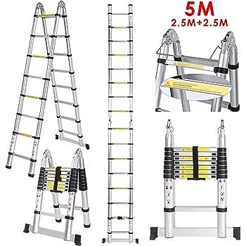 Multi Klappleiter Anlegeleiter Teleskopleiter aus Alu Teleskop-Design 150Kg Mehrzweckleiter Stehleiter Ausziehbar 8X2 Sprossen 5 Meter