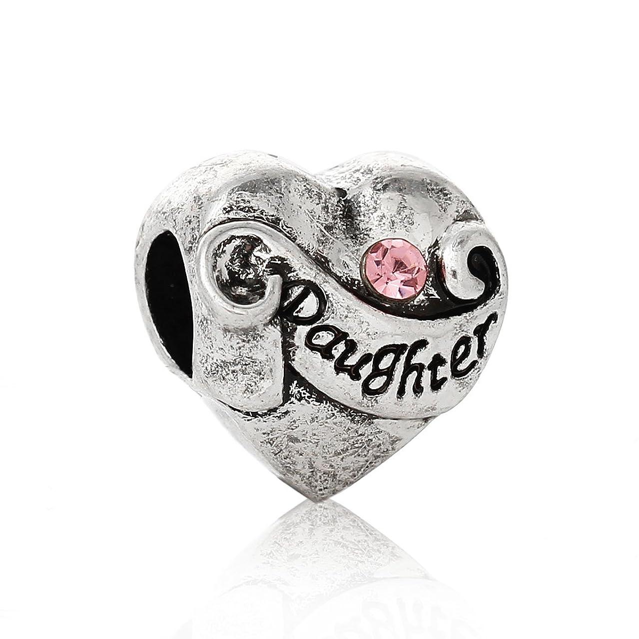 PEPPERLONELY Brand 10PC Antique Silver European Charm Beads Heart Pink Rhinestone