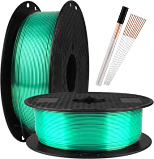 TTYT3D Silk Shine Emerald Green 3D Printer PLA Filament - 1.75mm 3D Printing Material Widely Compatible 1KG 2.2LBS Spool with Extra Gift 10pcs FDM 3D Printer Nozzle Cleaning Needles