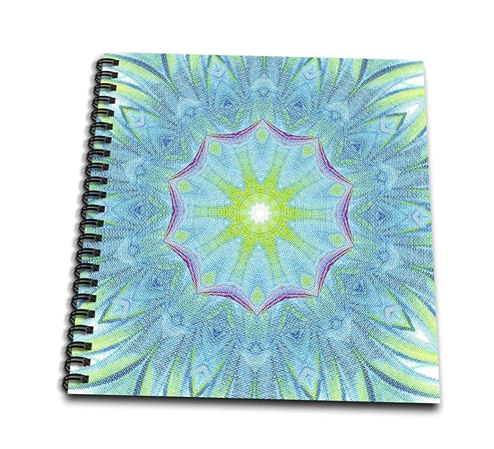 3dRose Blue Red Yellow Pinwheels Kaleidoscope Pattern-Drawing Book, 8 by 8