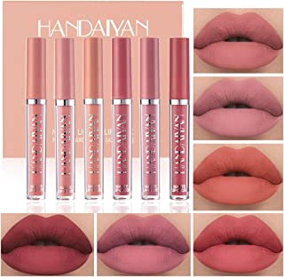 6 Colors Matte Liquid Lipstick Makeup Set, Matte Velvety Long-Lasting Wear Non-Stick Cup Not Fade Waterproof Lip Gloss (B)