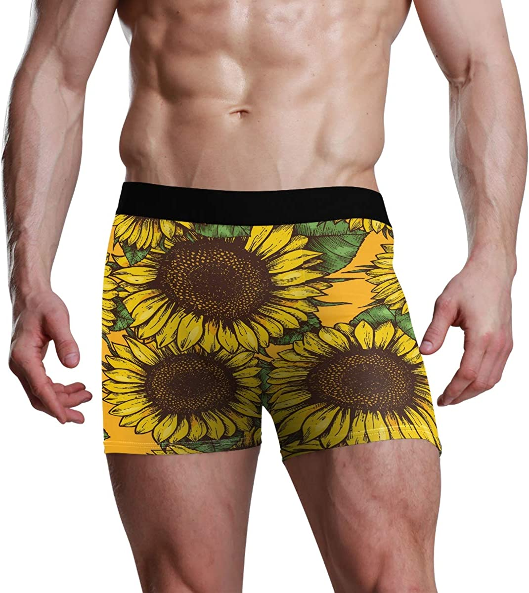 HangWang Men's Underwear Summer Sunflowers Breathable Boxer Briefs Low Rise Long Leg