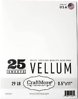 CraftMore 8.5x11 White Vellum Medium 29lb Weight 25 Sheets