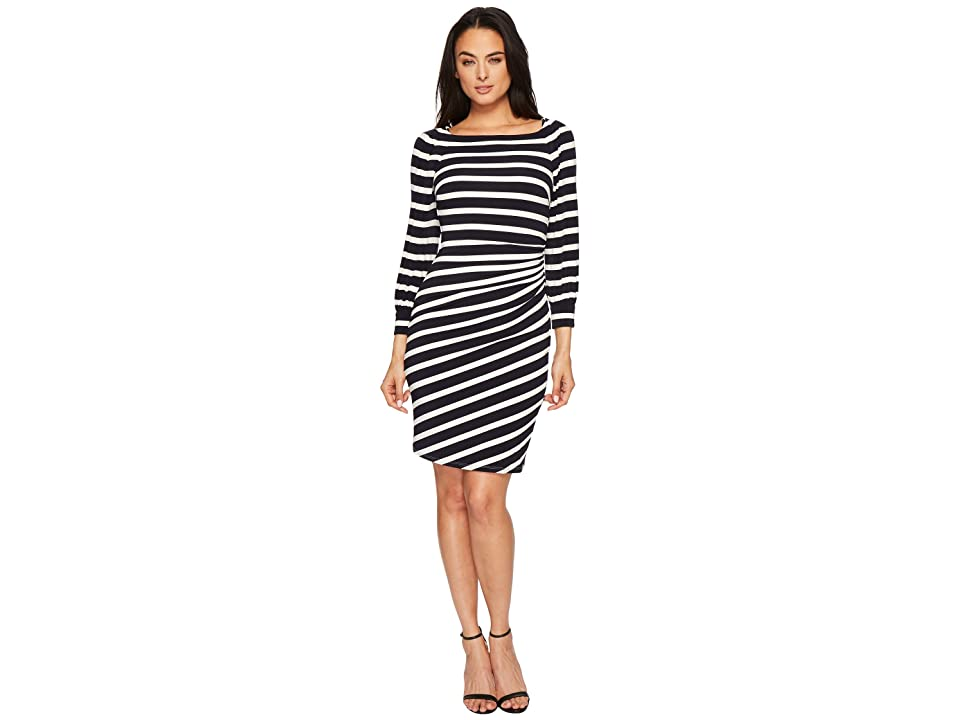 LAUREN Ralph Lauren Kynara Tug Boat Stripe Matte Jersey Dress (Lighthouse Navy/Colonial Cream) Women