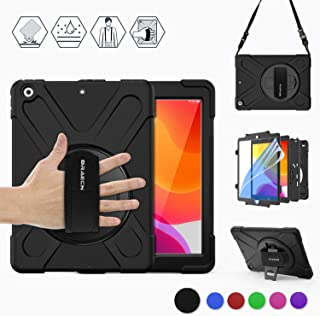 BRAECN iPad 7th Generation case,iPad 10.2 2019 case with [Built in Anti-Scratch Screen Protector],Hand Strap,Swiveling Stand,Carrying Strap,Heavy Duty Rugged Case for iPad 10.2 A2197/A2198/A2200-Black