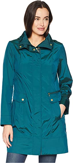 "34 1/2"" Single Breasted Rain Jacket with Removable Hood"