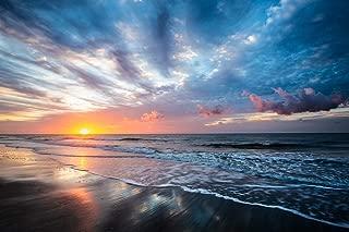 Coastal Photography Wall Art Print - Picture of Sunrise Over Atlantic Ocean Along Beach at Hilton Head Island South Carolina East Coast Decor 5x7 to 40x60