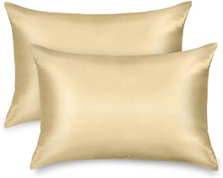 Satin Pillowcase for Hair and Skin - Softer Than Silk - 2 Pack Anti Wrinkle Standard Champagne Pillow Cases No Zipper - Si...