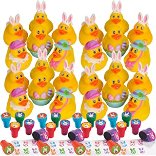 48 Count Easter Rubber Ducks and Stampers Bundle (24 Rubbser Duckies + 24 Bunny Emoji Stampers) Easter Egg Hunt Prizes - Spring Party Favors - Bulk Easter Basket Stuffers Goodies Toys Kids Handouts