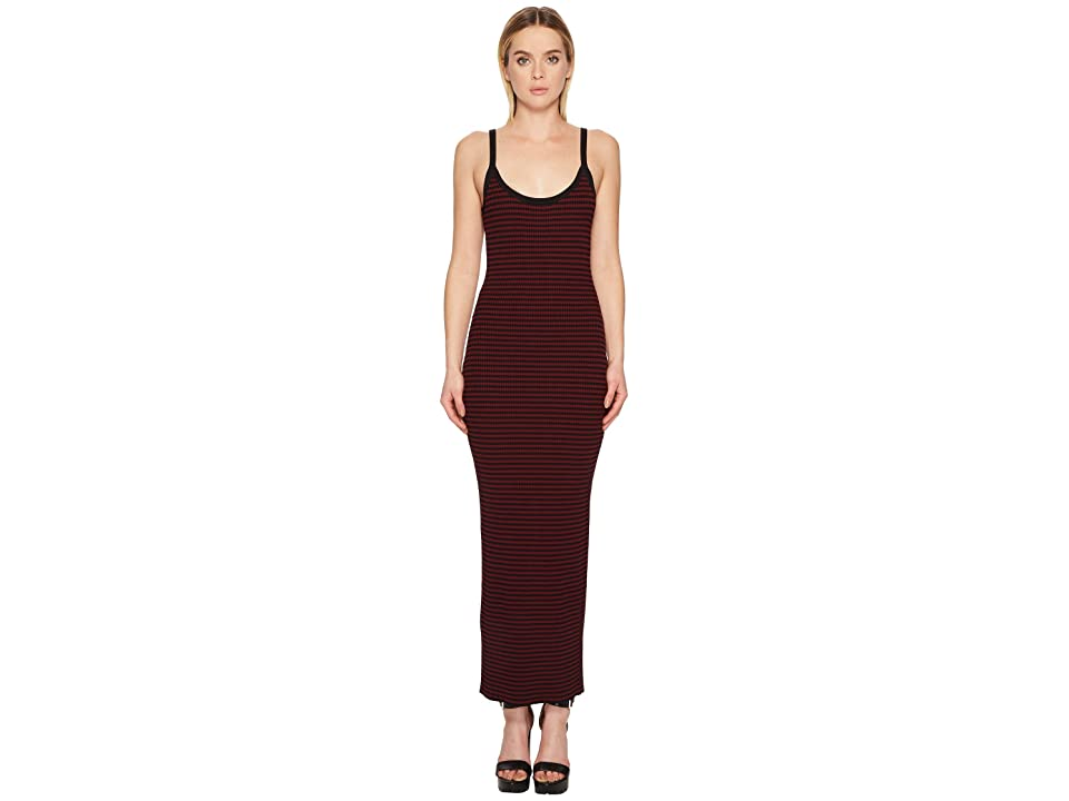 McQ Bodycon Strap Dress (Dark Black/Cherry) Women