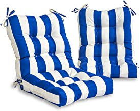 South Pine Porch AM6815S2-CABANA-BLUE Cabana Blue Stripe Outdoor Seat/Back Chair Cushion, Set of 2