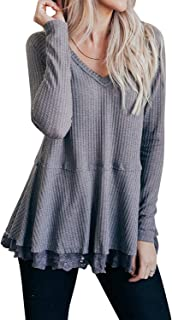 Womens Long Sleeve Waffle Knit Tops V Neck Lace Patchwork Casual Tunics Shirts