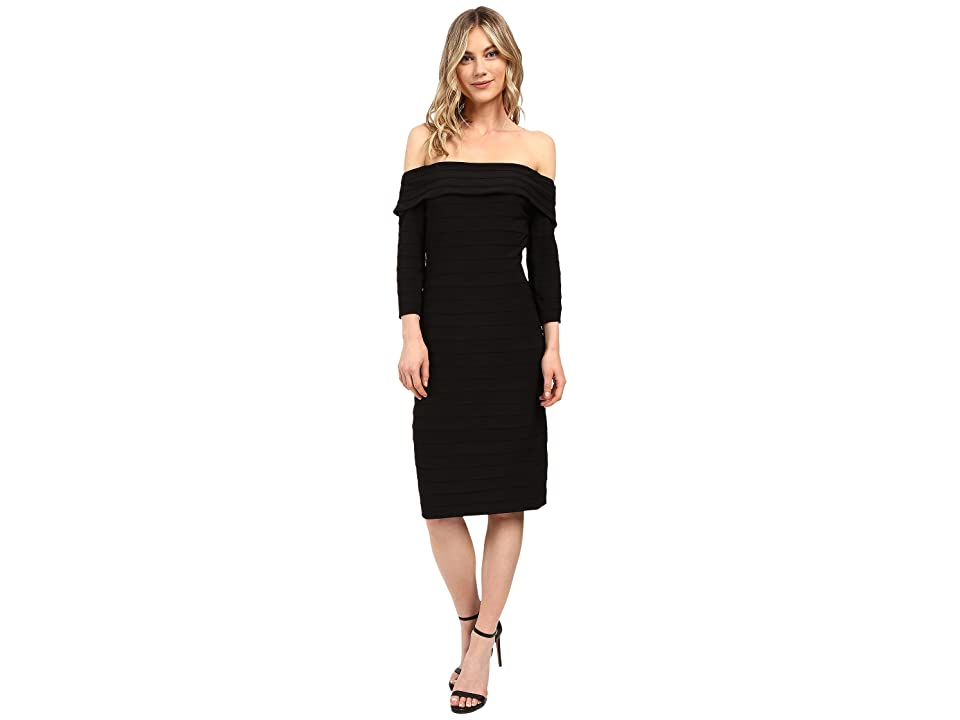 Adrianna Papell Fold-Over Top Banded Sheath Dress (Black) Women