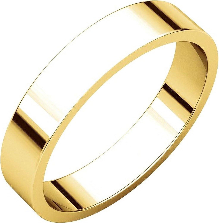 Men's and Women's 14k Yellow Gold, 4mm Wide, Flat, Plain Wedding Band
