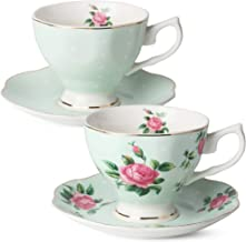 BTaT- Floral Tea Cups and Saucers, Set of 2 (Green - 8 oz) with Gold Trim and Gift Box, Coffee Cups, Floral Tea Cup Set, B...