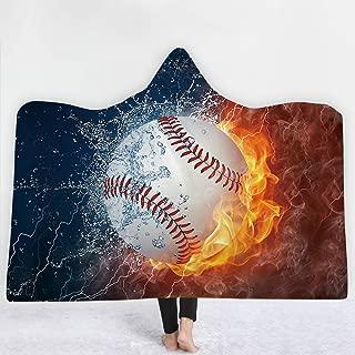 Irisbell Hooded Blanket Cape Wrap Baseball Softball Soccer Soft Wearable Blanket Hooded Throw Poncho 60''H x 80''W (Baseball, 80''x60'')